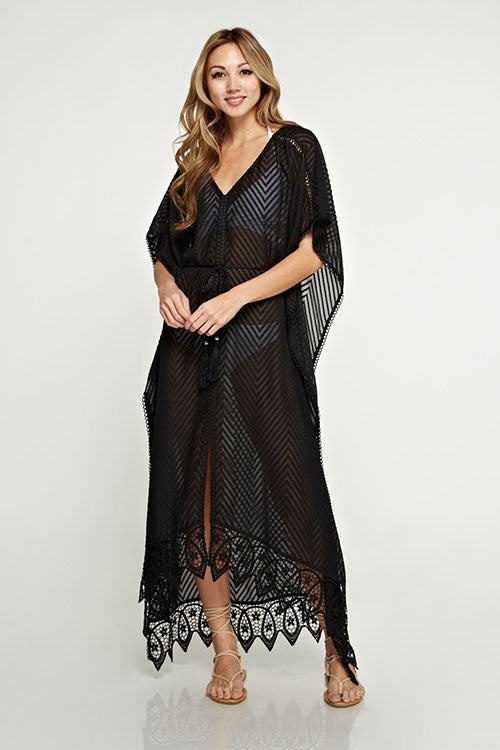 Belted Burn-out Kaftan with Lace Detail