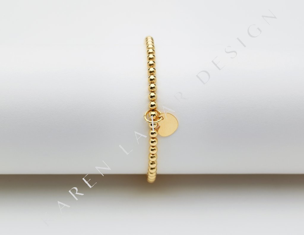 3MM Yellow Gold Filled Bracelet with Heart Charm - CHILD SIZE