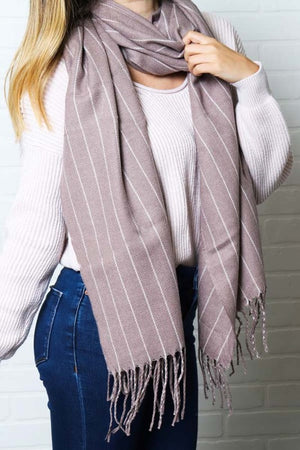 Striped Fringe Scarf (3 colors)