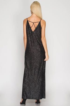 Strappy Metallic Maxi Dress
