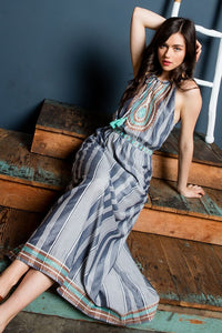 Striped Embroidered Maxi Dress