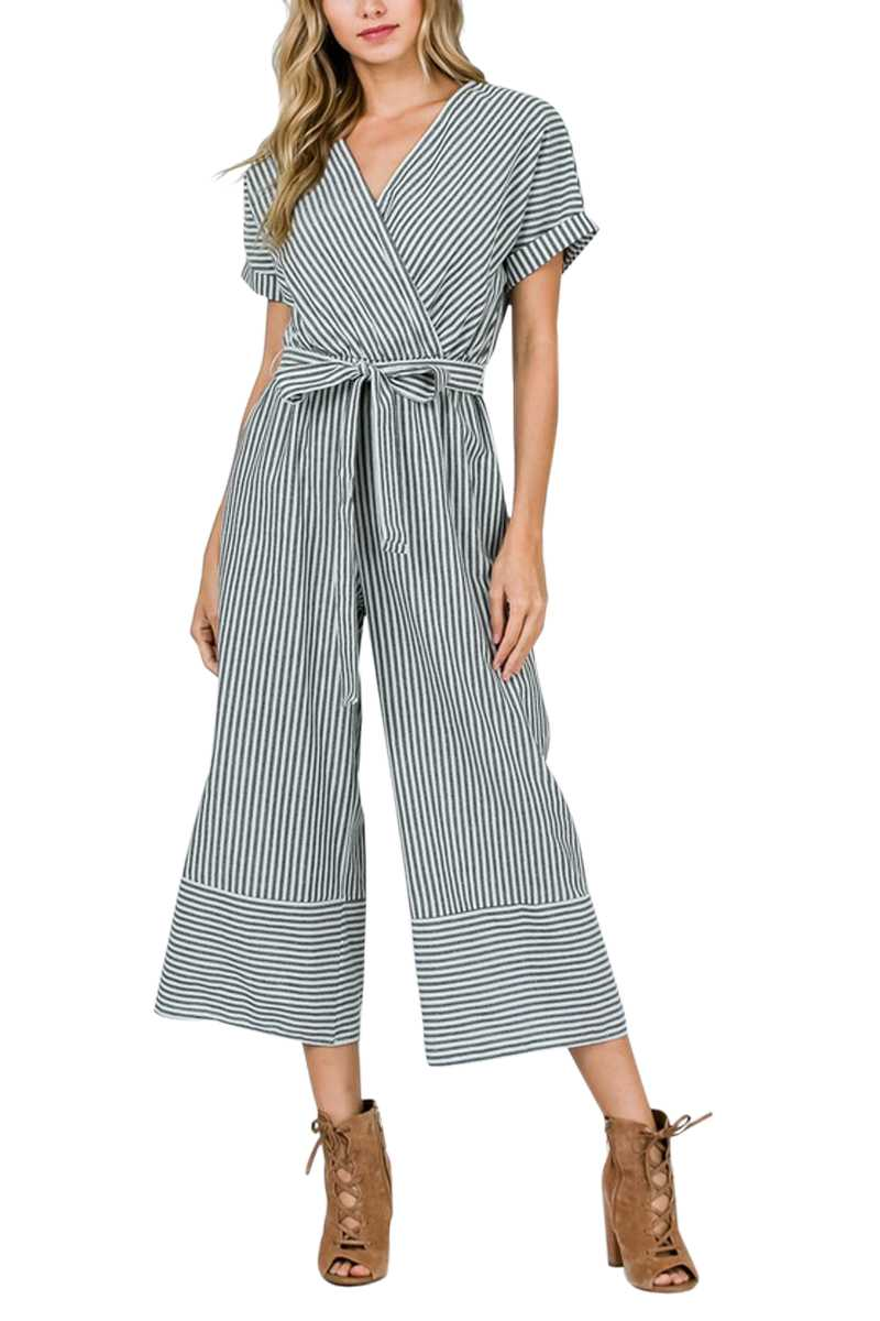 Striped Jumpsuit with Tie Waist