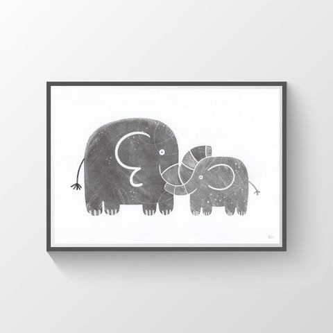 Little Elephant Risograph Print