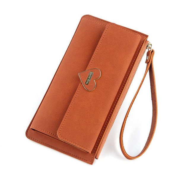Women's long tri-fold zipper wallet