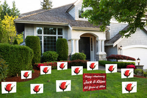 'Yard Full of a Dozen Anniversary Roses' Yard Signs - Bundle Pack