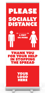 """Please Socially Distance"" Retractable Banner Stand - various styles"