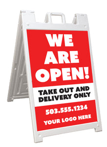 We are Open - Take Out and Delivery Only - A-Frame Signicade Sign