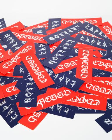"CAPESON ""CALLIGRAPHY"" BOX LOGO STICKERS (NAVY, RED)"