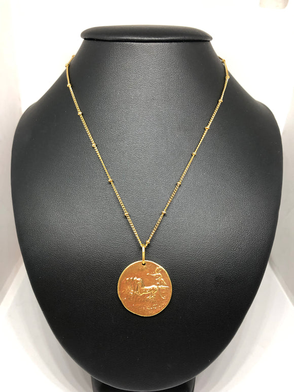 Greek warrior coin necklace