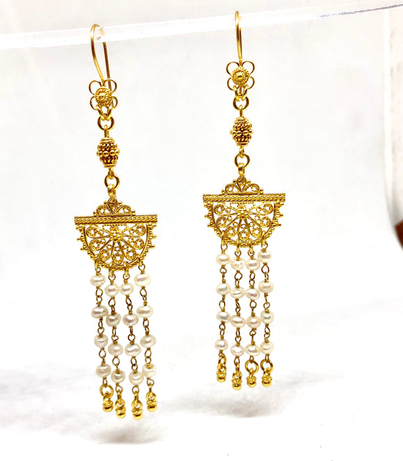 Boho Cleopatra Pearl Earrings