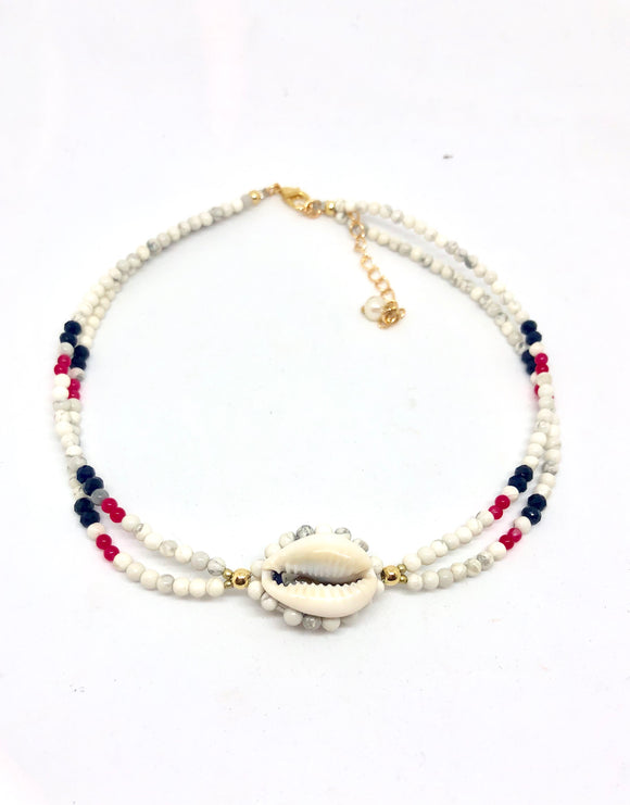 Twin puka shell choker