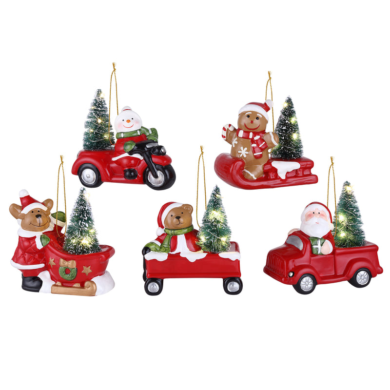 "Set of 5 Lit 5"" Vehicle Ornaments"