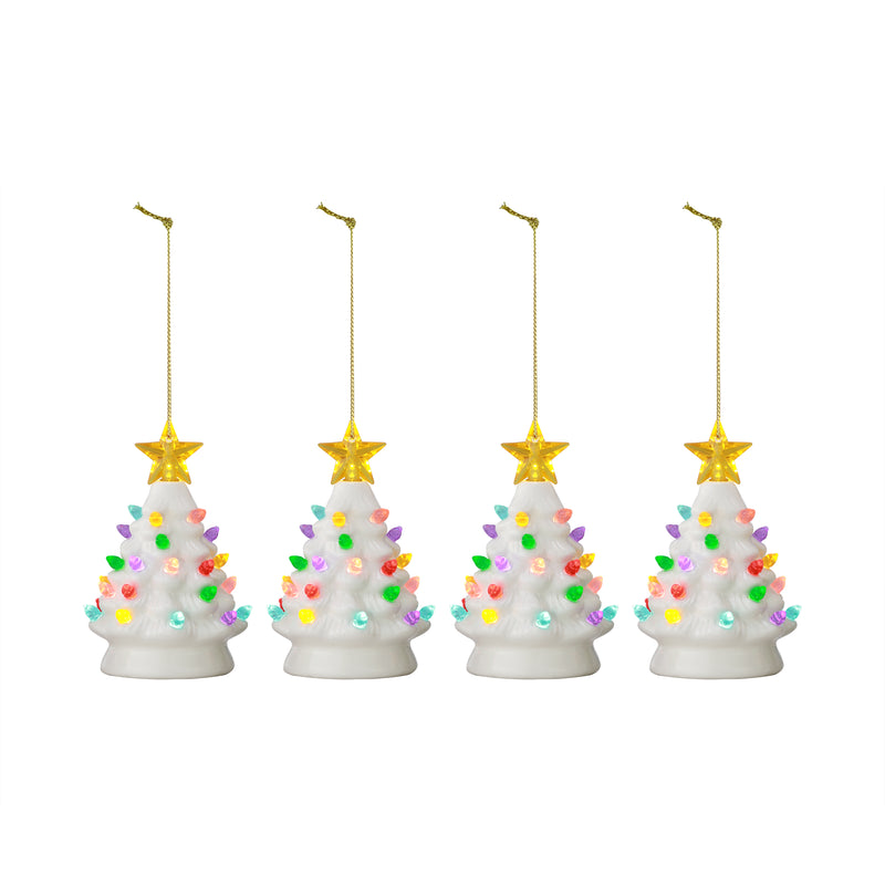 "Set of 4 - 5.5"" Nostalgic Trees - White"