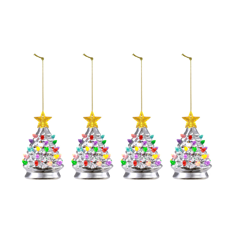 "Set of 4 - 5.5"" Nostalgic Trees - Silver"