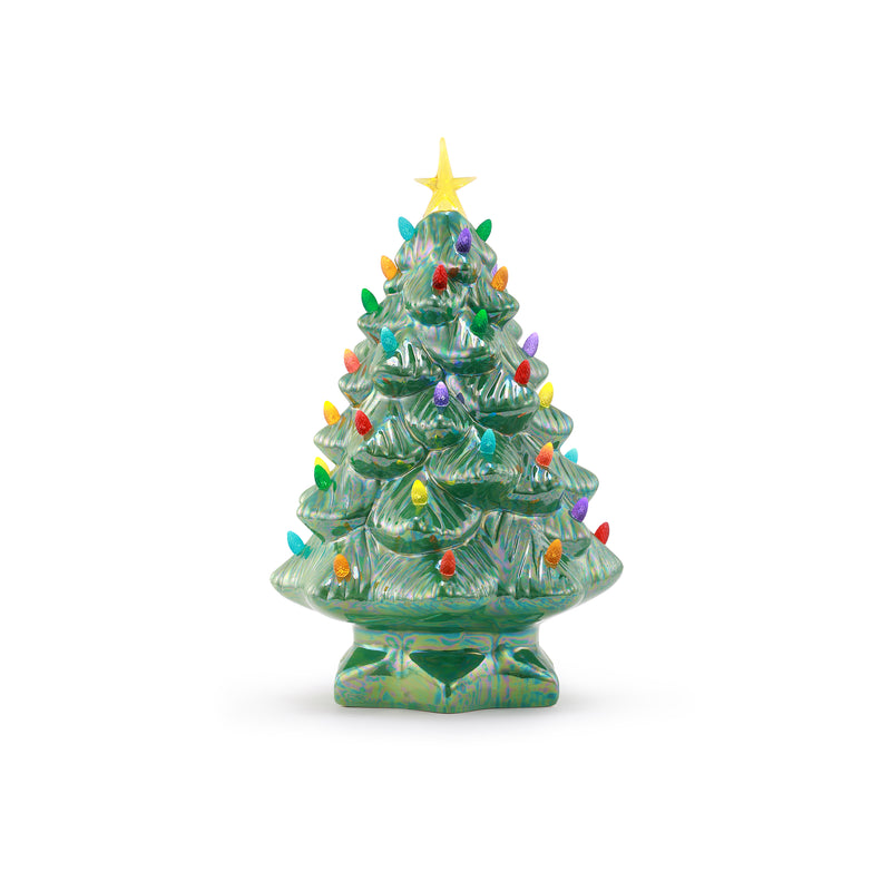 "14"" Pearlized Nostalgic Tree - Green"
