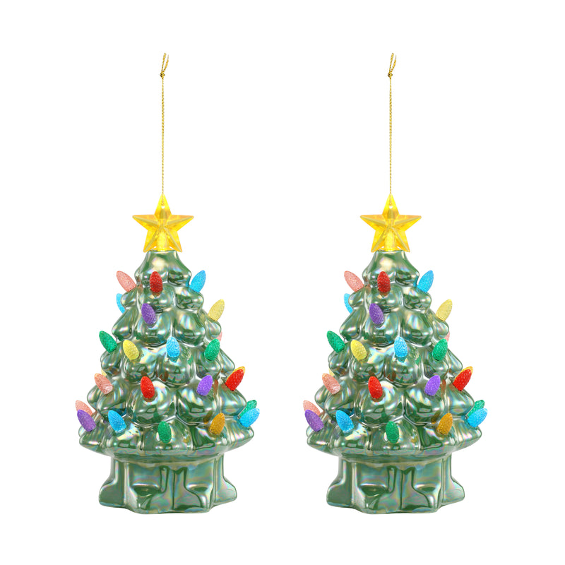 "Set of 2 - 7"" Pearlized Nostalgic Trees - Green"