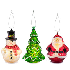 Set of 3 Mini Mercury Glass Figurines - Santa/Snowman/Tree