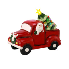 Porcelain Santa in Truck - Green