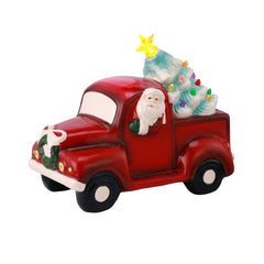 Porcelain Santa in Truck - Blue