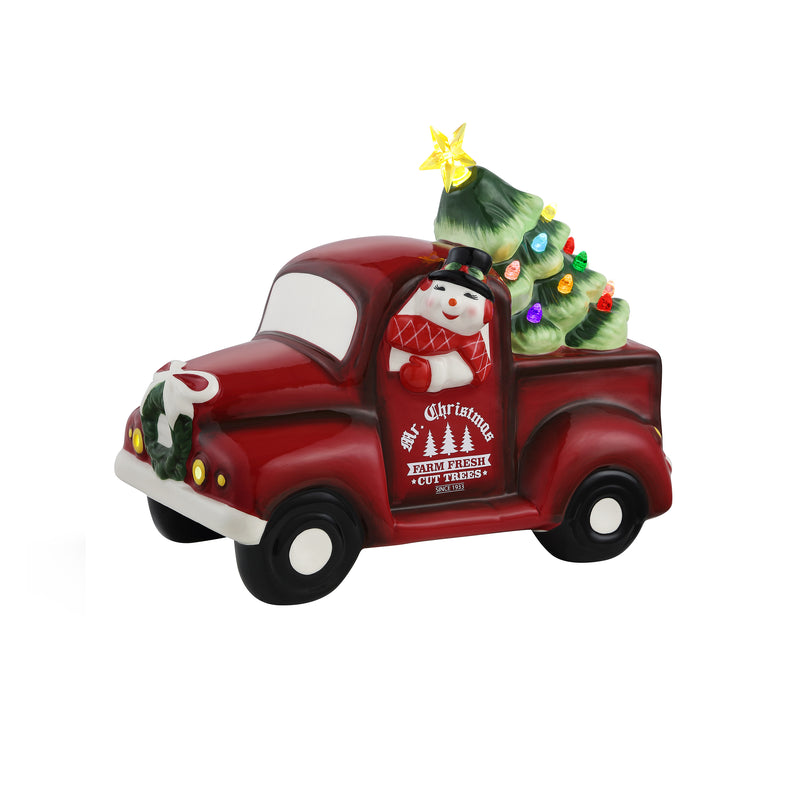 "10.5"" Lit Nostalgic Ceramic Truck with Tree - Elf"