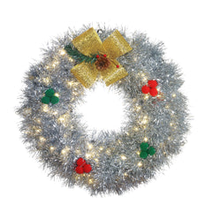 Illuminated Silver Tinsel Wreath