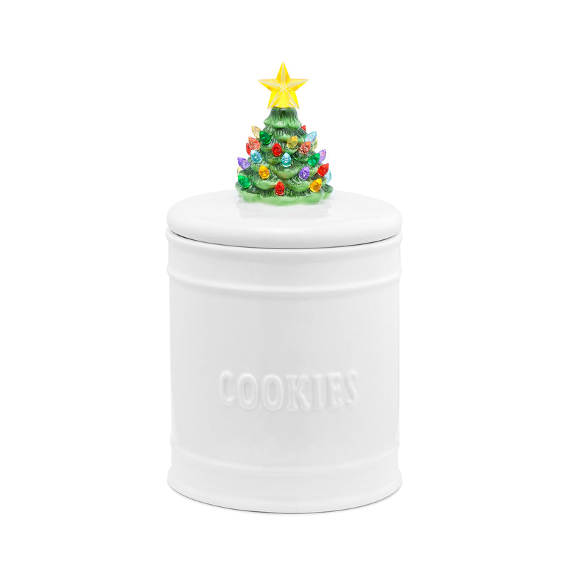 White Cookie Jar with Nostalgic Tree