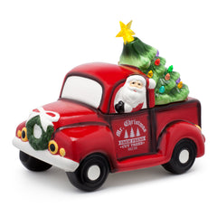 Red Truck Cookie Jar with Lit Green Tree