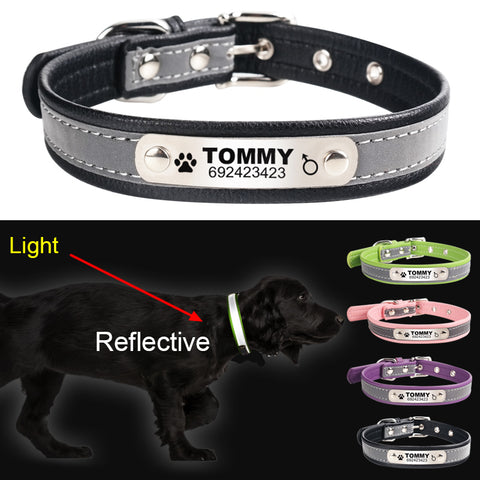 Reflective Leather Personalized Engraved Dog Collar, Custom ID Tag For Small Medium Large Dogs