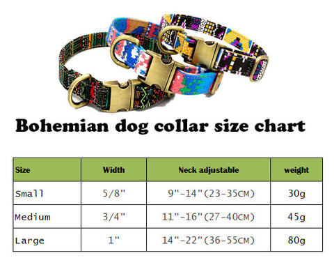 dog collars size chart, Bohemia style, Personalized Dog Collar