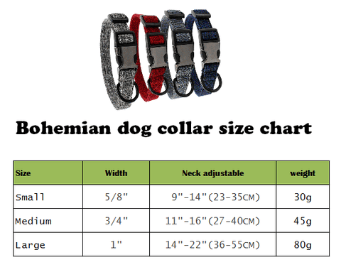 Simple style dog collars Size Chart