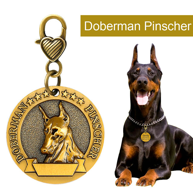 DOBERMAN Custom Personalized Pet ID Tag for Dog and Cat Collars