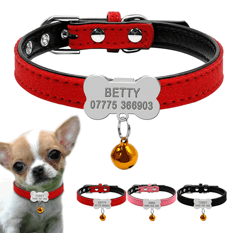Personalized Dog Collar, Custom Leather Puppy Dogs ID Collar for Small Dogs With ID Tags Nameplate