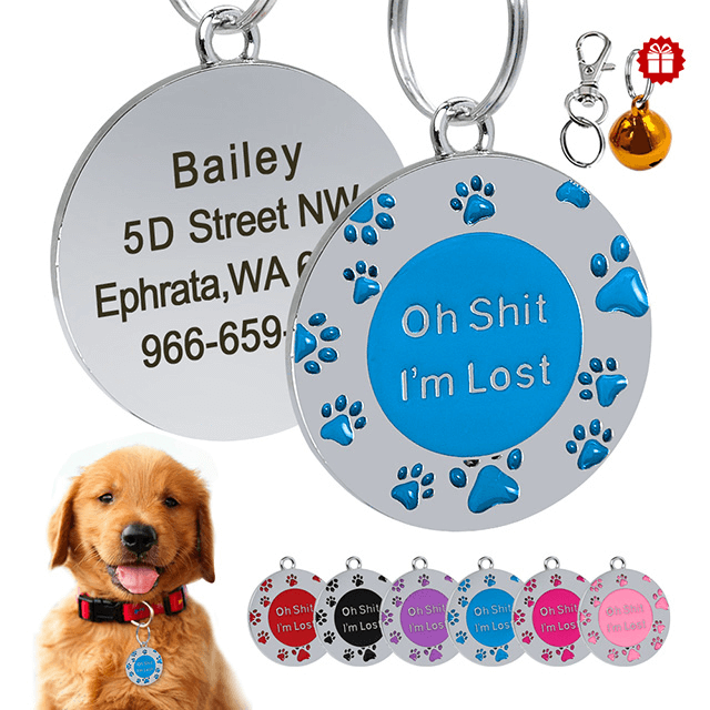 Custom Dogs Cat ID Tag, Personalized Footprint Name Tag for Puppy Pet Engraved Metal Anti-lost - personalize-dog-collars