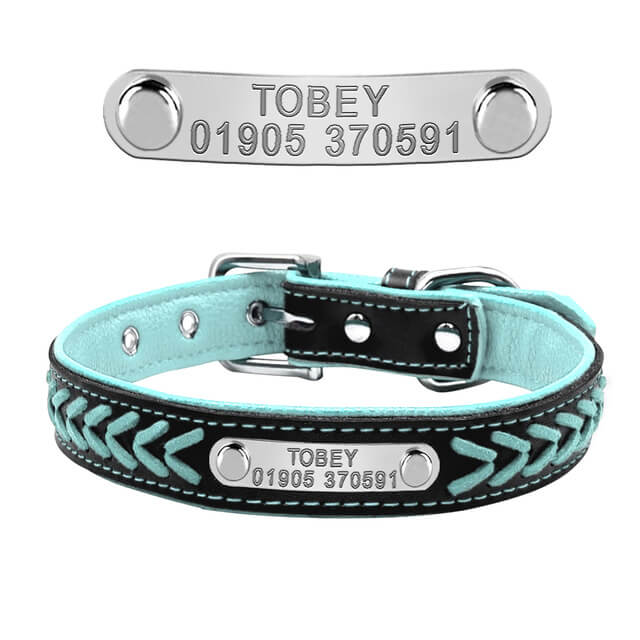 Customized Dog Collars , Personalized Pet Name ID Collar Engraving For Small Medium Large Dogs, blue