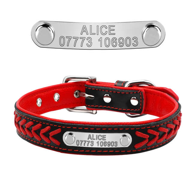 Customized Dog Collars , Personalized Pet Name ID Collar Engraving For Small Medium Large Dogs, red