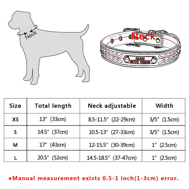 Customized Dog Collars , Personalized Pet Name ID Collar Engraving For Small Medium Large Dogs, size