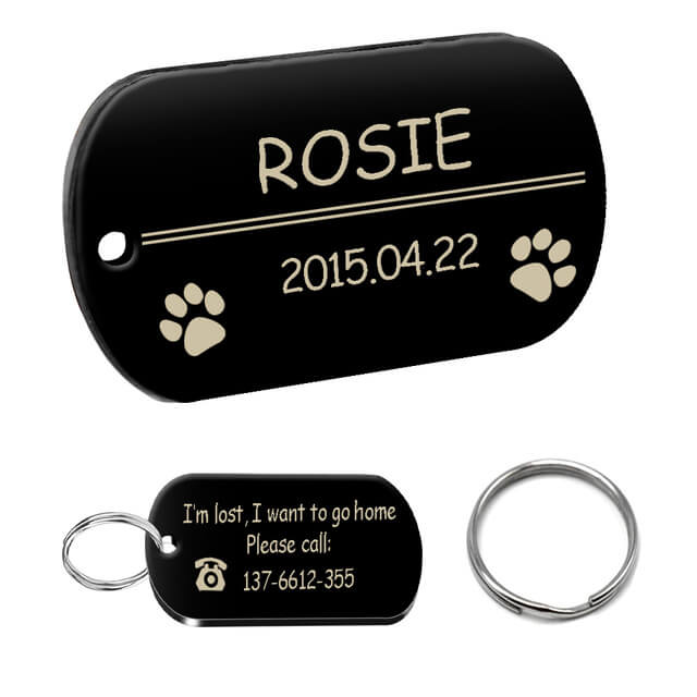 Personalized Dog ID Tag, Stainless Steel Customized Military Dog Tags, Engraved Pet Name Phone, rounded rectangle black