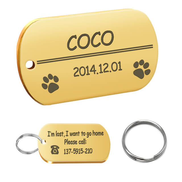 Personalized Dog ID Tag, Stainless Steel Customized Military Dog Tags, Engraved Pet Name Phone, rounded rectangle gold