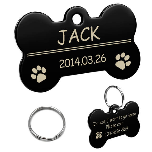 Personalized Dog ID Tag, Stainless Steel Customized Military Dog Tags, Engraved Pet Name Phone, bone black
