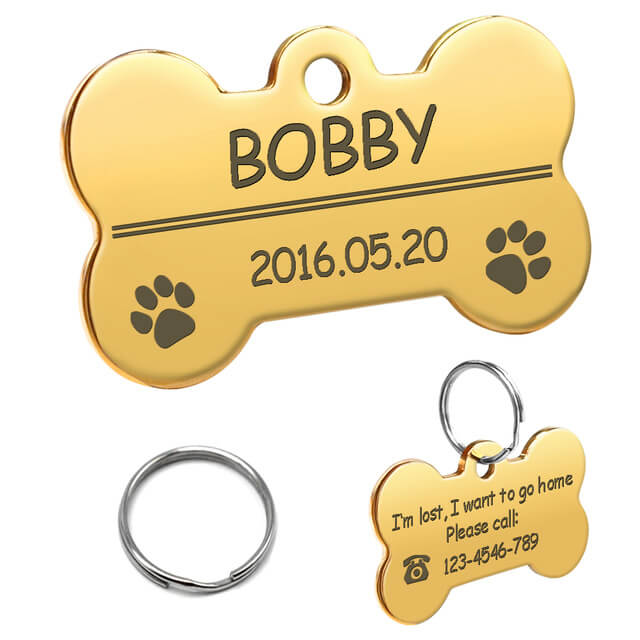 Personalized Dog ID Tag, Stainless Steel Customized Military Dog Tags, Engraved Pet Name Phone, bone gold