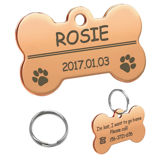 Personalized Dog ID Tag, Stainless Steel Customized Military Dog Tags, Engraved Pet Name Phone, bone rose