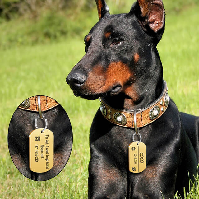 Personalized Dog ID Tag, Stainless Steel Customized Military Dog Tags, Engraved Pet Name Phone, model