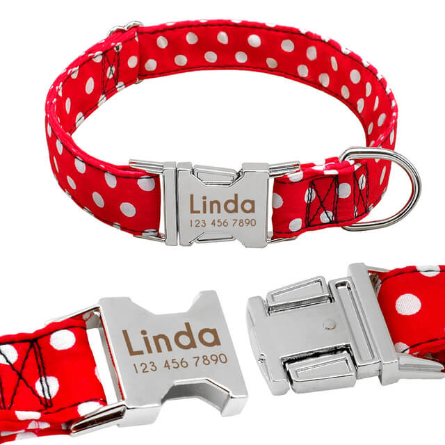Customized Nylon Dog Collar, Anti-lost Nameplate Tags Collars For, Laser Engraved, red