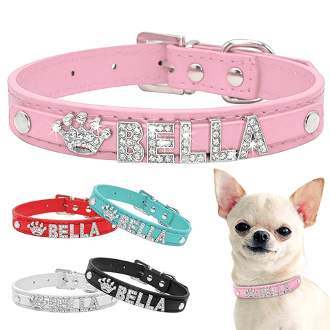 Custom Necklace Free Name Charms Pet Accessories, Personalized Bling Rhinestone Puppy Dog Collars