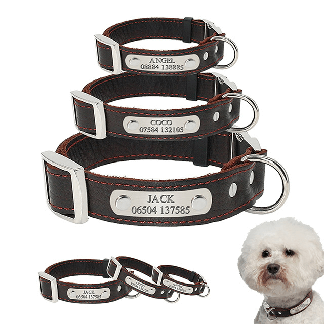 Personalized Dog Collar,Customized Genuine Leather Adjustable Engraved ID Collars For Dogs
