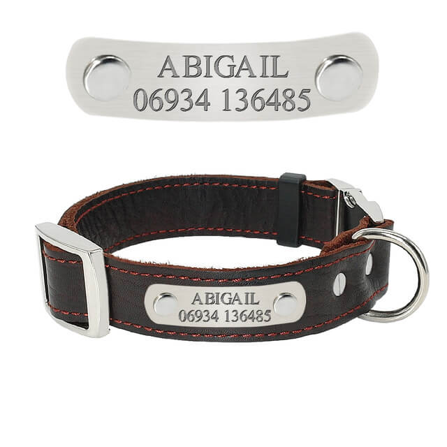 Personalized Dog Collar,Customized Genuine Leather Adjustable Engraved ID Collars For Dogs, brown