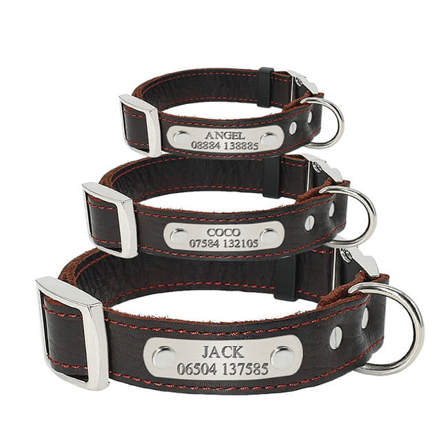 Personalized Dog Collar,Customized Genuine Leather Adjustable Engraved ID Collars