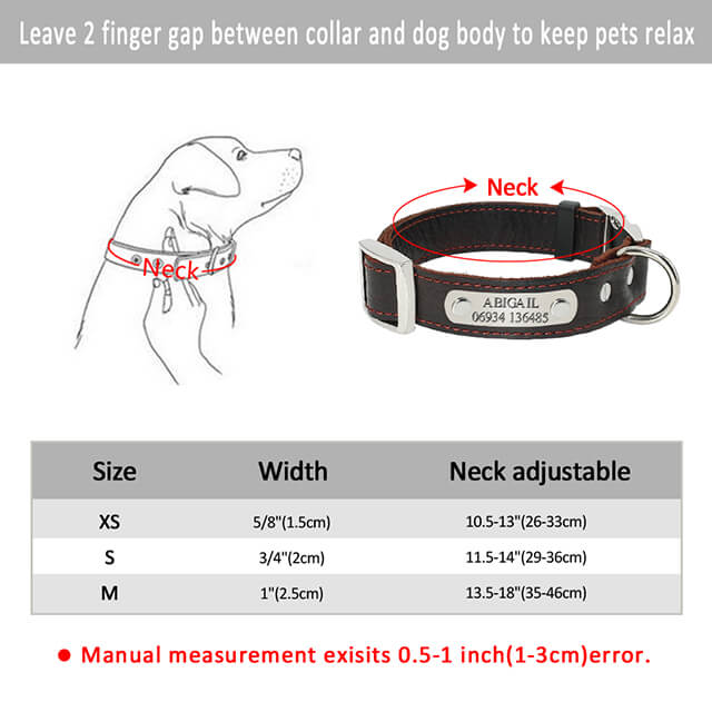 Personalized Dog Collar,Customized Genuine Leather Adjustable Engraved ID Collars For Dogs, size