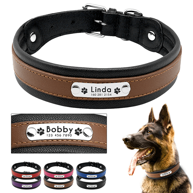 Custom Genuine Leather Dog Collar, Personalized Pet Name ID Collar