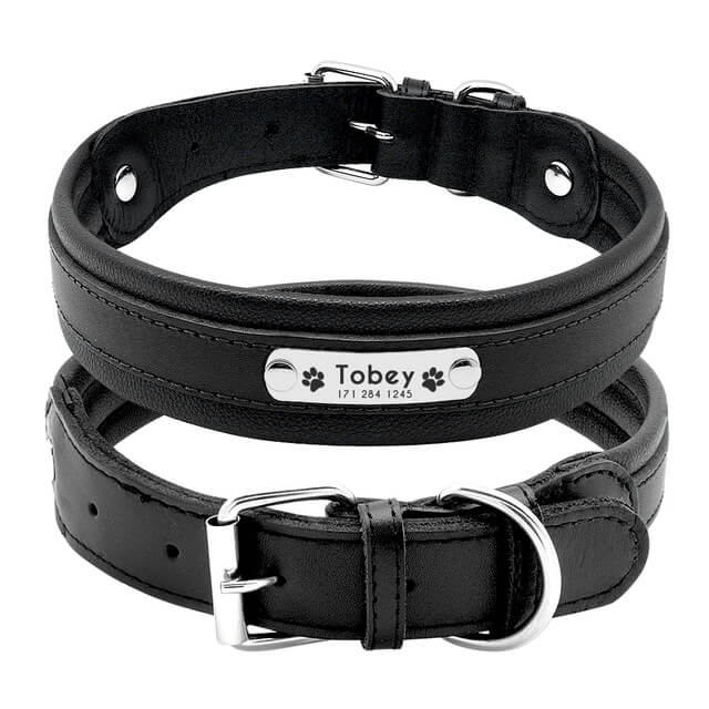 Custom Genuine Leather Dog Collar, Personalized Pet Name ID Collar, black